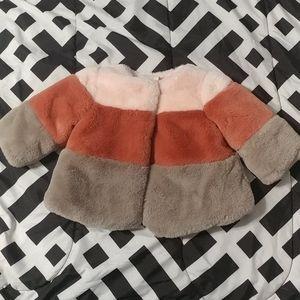 NWOT Colorblocked Faux-Fur Coat